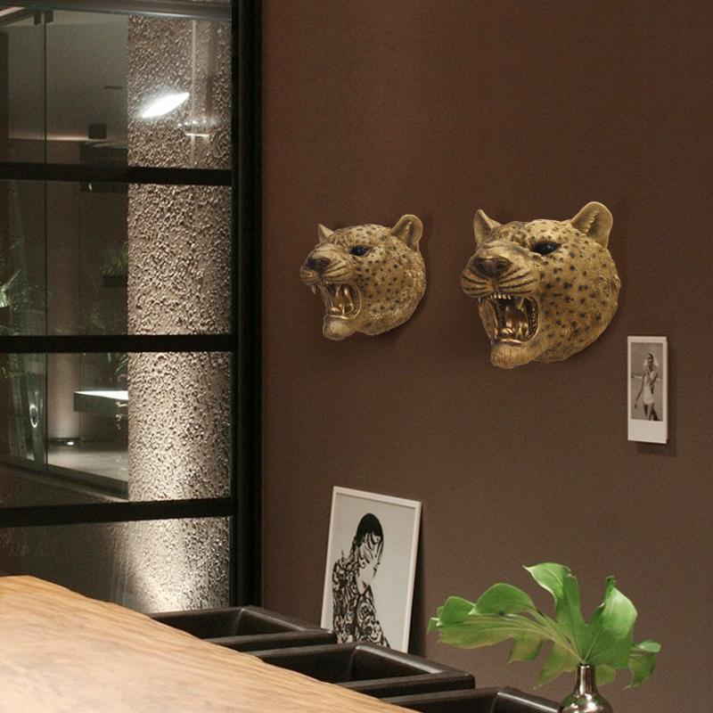 ROOGO leopard head shape 3D tường treo để trang trí tường nhà