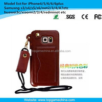 mobile phone wallet case for samsung galaxy S6 with Card Slot& Holder& neck-strap