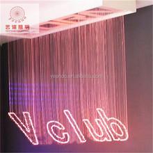 hot sale fiber optic waterfall light curtain with crystal chandelier for KTV hotel restaurant