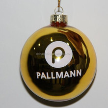 Gold color Glass Balls Christmas Ornaments with customize designs