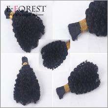 European Virgin Hair Kinky Curly Bulk Hair For Braiding Kinky Curly Hair Bulk No Attachment Natural Black Wholesale Cheap