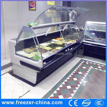 supermarket sushi equipment cooked food refigerator, deli food diplay showcase display freezer ice cubes