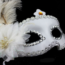 2015 Wholesale Hot selling half face mask shine ostrich feather masks for women in all festival with new design