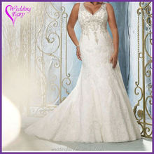 Best selling OEM quality organza and lace bridal gown with good price