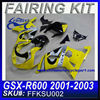 Fairing Motorcycle For SUZUKI GSXR750 GSXR 600 2001-2003 YELLOW 2 FFKSU002