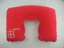 Eco-friendly PVC flocking custom logo branding travel inflatable neck pillow