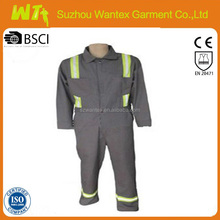 hi vis cheap reflective cotton fabric coverall suit security fire retardant coverall for fireman gray cotton coverall for worker
