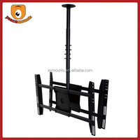 "1 Pole hanging height fixing fits 32""-52"" dual monitor flip down 360 degrees Universal flat screen swivel stand"