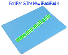 Hot selling Front with Back Transparent Hard Case Cover for iPad(Blue)