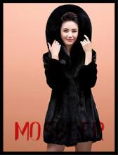 Brand Top Quality Long European Fashion Women Black Mink Fur Coat/unsorted second hand clothes