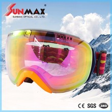 Taiwan snow ski, good quality racing ski google, spherical ski goggles with ANSI certificate