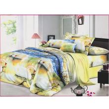 Hot sale 100% polyester fancy 3d bed sheet new design elegant flower printing colorful high quality bed sheet/3d bed cover set