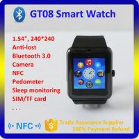 GT08 sim card android smart watch phone bluetooth 3.0 MTK6260A wrist watch