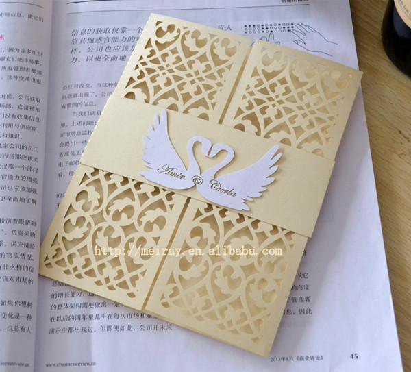 swan laser cut wedding invitation wedding card design 2015