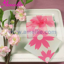 ACC017 Wedding Table Decorations Pink Floral Patterned Mirrored Glass Coasters