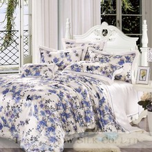 Suzhou Taihu Snow OEKO high quality silk blue and white printed elegant big flower bedding/comforter set 4 pcs for gift