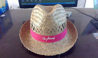 natural hollow straw Fedora trilby hat with pink ribbon