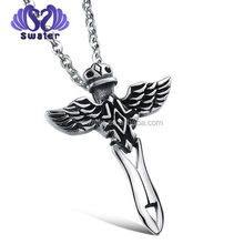Alibaba China Fashion Accessories New Products Silver Cross With Wing Necklace