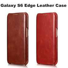 Wholesale High Quality Retro Luxury Ultra Thin Leather Case For Samsung Galaxy S6 Edge With One Card Slot