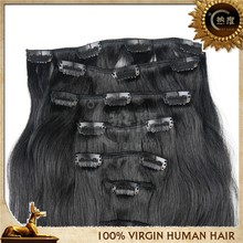 Wholesale Indian human hair natural color clip in hair extensions