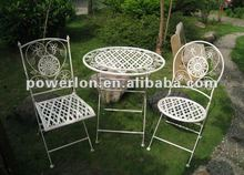 2012 New 3PCS foldable metal patio garden furniture with one table and two chairs
