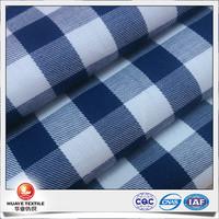 50s yarn dyed cotton twill navy blue and white plaid poplin fabrics