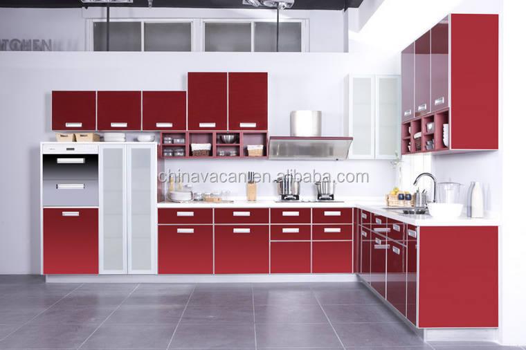 rouge couleur tremp verre cadre en aluminium pour armoires de cuisine gros armoire de cuisine. Black Bedroom Furniture Sets. Home Design Ideas
