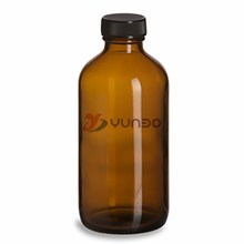 Amber Boston Round Glass Bottle 8 oz w/ Std Cap