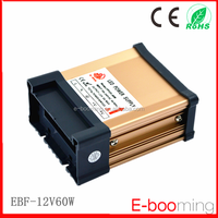 2015 Hot Sale 12V 5A 60W rainproof ac dc power supply /IP65 aluminum extruded case LED power supply for LED Light