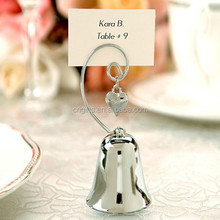 Wholesale Silver Bell with Dangling Heart Charm Kissing Bells Place Card holder Wedding Table Decorations, Party Supplies