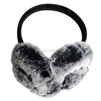 Women Genuine Rabbit Fur Velvet Knit Adjustable Band Earmuffs Earwarmer