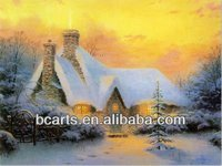 High quality abstract art painting wholesale rustic scenery. Winter sunset landscape oil painting village