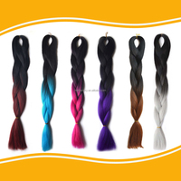 Super wavy X-Expression jumbo hair ombre braid Two Tone braiding fake synthetic hair ponytails