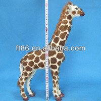 Cute Vivid lovely soft leather Animatronic Life Size Giraff Model