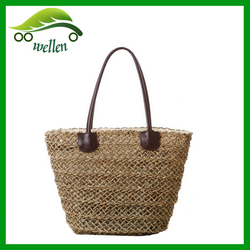 2015 best Woven Tote Bag personalized make straw beach bag