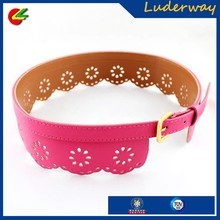Fashion Different Flower Patterns Dress Cummerbund 4 Colors Perforated Obi PU Leather Waist Belt