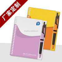 PU PP cover pocket spiral notebook with pen ,2015 notebook with pen attached,high quality notebook planner agenda