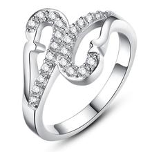 Jewelry wholesale Beautiful swan created diamond ring The copper plating platinum women's engagement ring DJ945