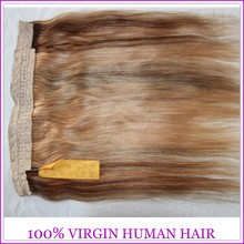Can custom as request 100% Unprocessed Brazilian Virgin human hair flip in extensions fish line hair extension