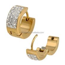 stainless steel zircon stones gold huggies earrings for women