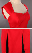 VD001_Newest_Ladies_Knee_Length_Party_Dress_In_Red