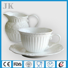 New design white emboss porcelain Turkish coffee set with beads wholesale