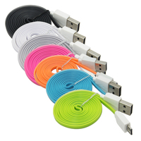 China colorful noodle flat 1m 3ft usb mobile charging cable