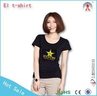 sewn on custom logo led t shirt animated design el t shirt el slim ladies t-shirt