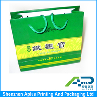High end art paper gift bag for tea packaging , tea packaging bag with handle
