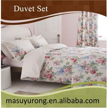hot sale korea fashion flower print brushed microfiber duvet set MS-DV01