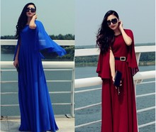 2015 new arrive style design full sleeve maxi women famous high quality elegant chiffion long dress
