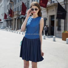 HJL-C1099 Veri Gude Wholesale Summer latest European slim fit splicing fresh ladies casual denim dress