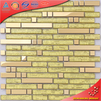 SA32 Golden Stainless Steel Mix Glass Mosaic Tile Decorative Strips for Walls