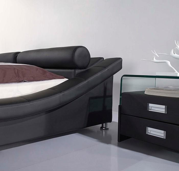 Cuero negro moderno cama A040
